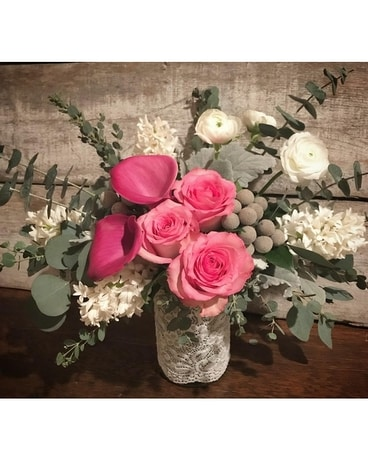 Lovely Lace Vase Flower Arrangement