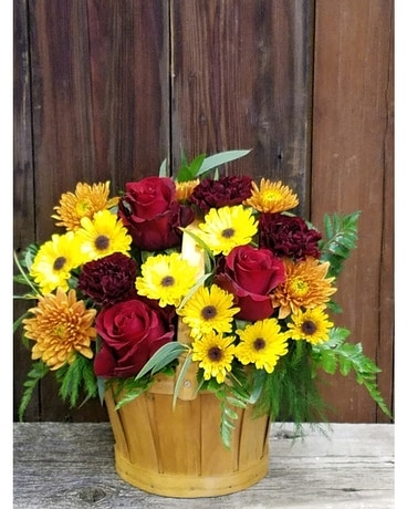 Bushels of Fall Flower Arrangement