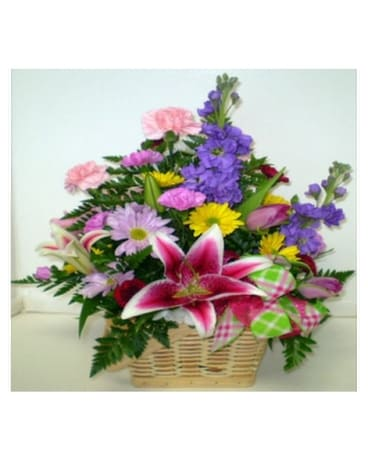 Spring Garden Basket Flower Arrangement