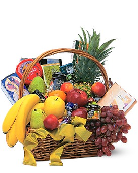 Gourmet Fruit Basket Flower Arrangement