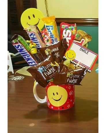 Red Smile Mug with Candy Flower Arrangement