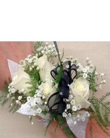 White Quad Sweetheart Rose Wrist Corsage