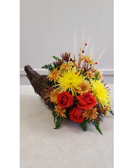 Beall's Florist - Fall Cornucopia Flower Arrangement