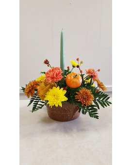 Beall's Florist - Single Candle Centerpiece Flower Arrangement