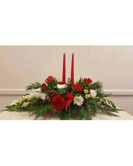 Beall's - 2 Candle Christmas Centerpiece Flower Arrangement
