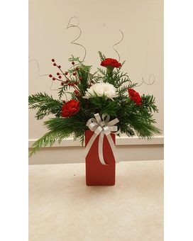 Beall's - Red-Green Ceramic Vase Flower Arrangement