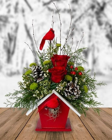 Cardinals A-Calling Flower Arrangement