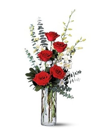 Red Roses and White Orchids Flower Arrangement