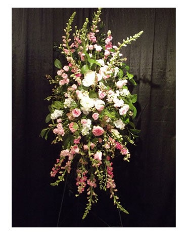 Pink Rose Standing Spray Funeral Arrangement
