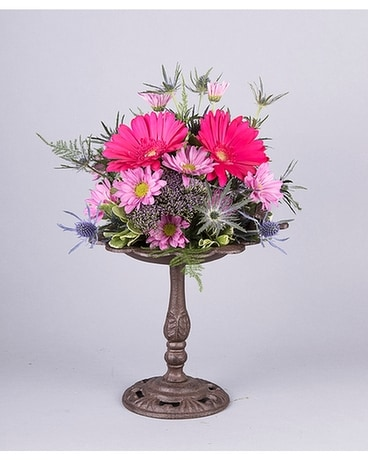 Blooming Bird Bath Flower Arrangement