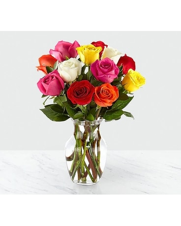 Bright Spark Rose Bouquet Flower Arrangement