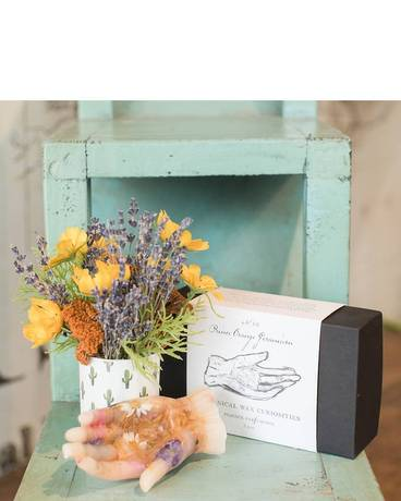 Gift Set: The Hand & The Cactus Flower Arrangement