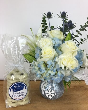 All Spruced Up & Snowflakes Flower Arrangement