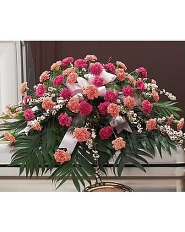 Delicate Pink Casket Spray Flower Arrangement