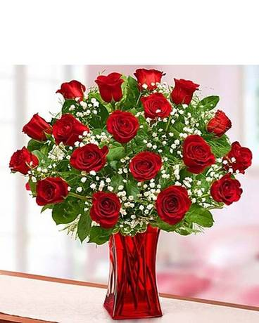 18 Blooming Love Premium Red Roses Flower Arrangement