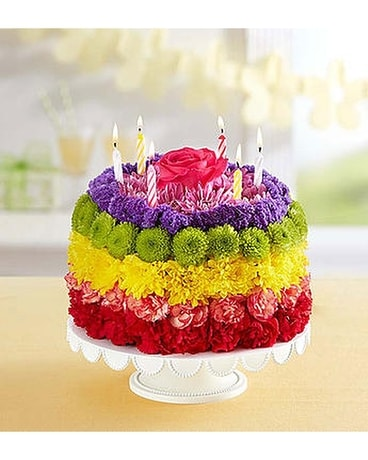 Birthday Wishes Flower Cak Rainbow Flower Arrangement