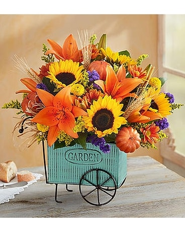Harvest Garden Cart Flower Arrangement
