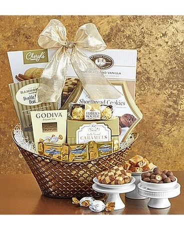 Gilded Splendor Gift Basket Flower Arrangement