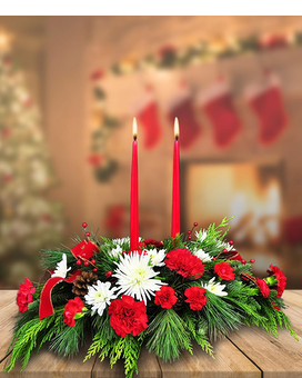 Double Candle Centerpiece Flower Arrangement