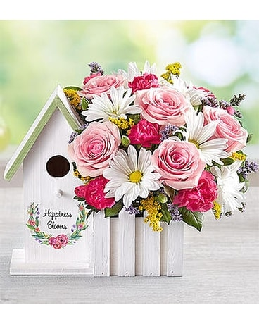 Happiness Blooms Birdhouse - Pink Flower Arrangement