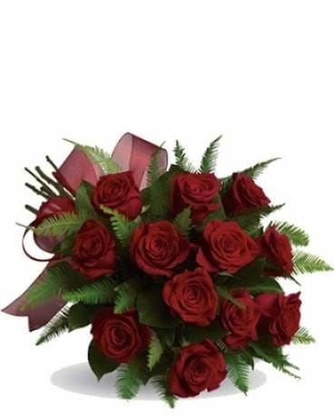 Dozen Red Cut Roses Hand Tied