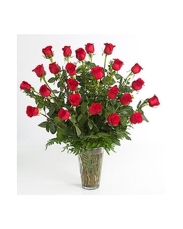 2 Dozen Red Roses Arranged Flower Arrangement