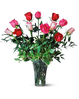 A Dozen Multi-Colored Roses Flower Arrangement