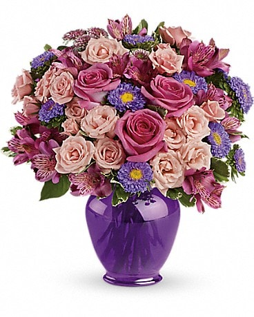 Telefloras purple medley bouquet with roses by sand springs flowers mightylinksfo