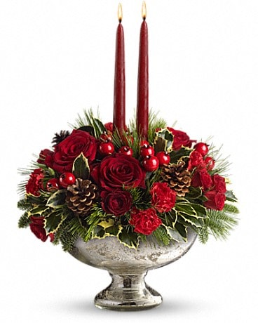 Teleflora's Mercury Glass Bowl Bouquet Flower Arrangement