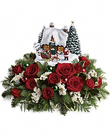 Thomas Kinkade Santa's Workshop by Teleflora Flower Arrangement