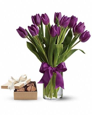 Passionate Purple Tulips with chocolates