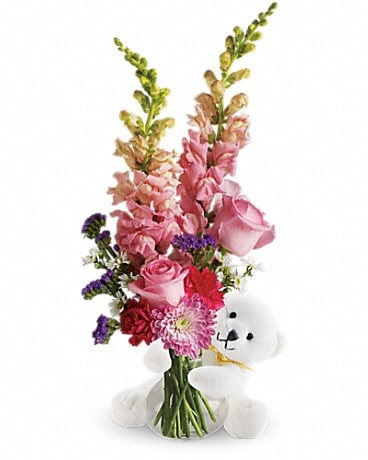 Bear Hug Bear with Pink Roses Bouquet