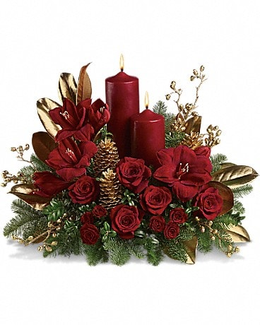 Candlelit Christmas Flower Arrangement