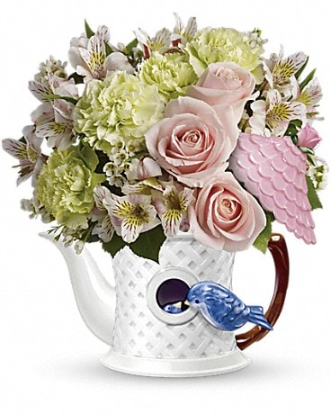 Teleflora's Bluebird Blush Bouquet Flower Arrangement