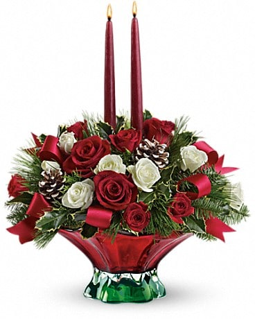 Teleflora's Colors of Christmas Centerpiece Flower Arrangement