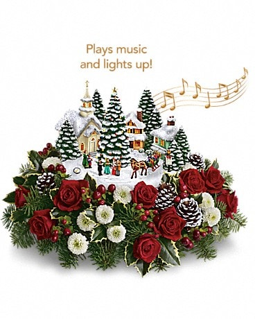 Thomas Kinkade's Christmas Carolers by Teleflora Flower Arrangement