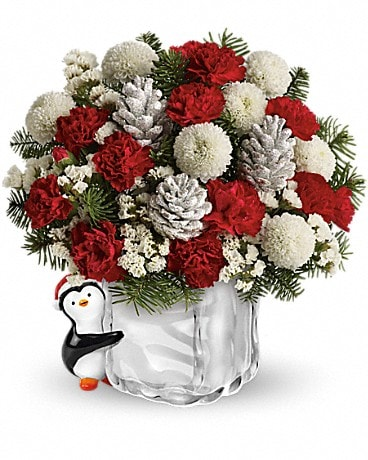 Teleflora's Merry Penguin Send a Hug Flower Arrangement