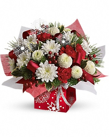 Teleflora's Winter Snowflake Present Perfect Flower Arrangement