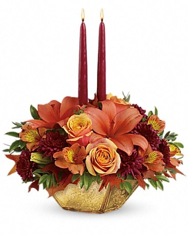 Teleflora's Harvest Gold Centerpiece Flower Arrangement