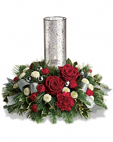 Teleflora's Snow-Kissed Roses Centerpiece Flower Arrangement