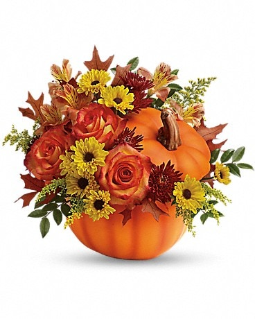 Warm Fall Wishes Pumpkin Flower Arrangement