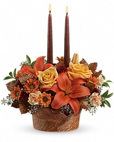 Teleflora's Wrapped In Autumn Centerpiece Flower Arrangement