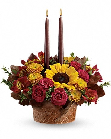 Teleflora's Sunny Thanksgiving Centerpiece Flower Arrangement