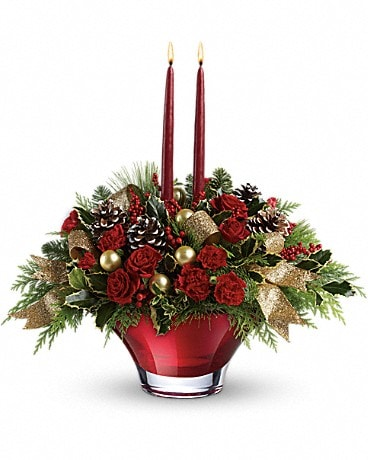 Teleflora's Holiday Flair Centerpiece Bouquet