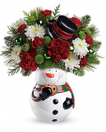 Teleflora's Snowman Cookie Jar Bouquet