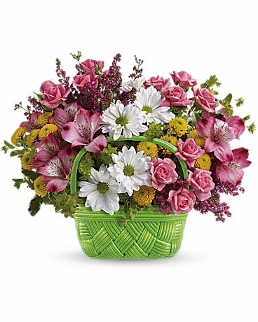 Teleflora's Basket Of Beauty Bouquet Flower Arrangement