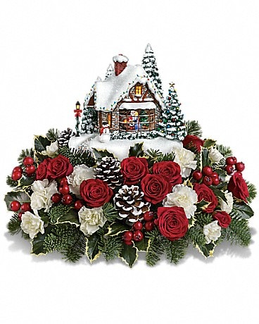 Thomas Kinkade's A Kiss For Santa by Teleflora Flower Arrangement
