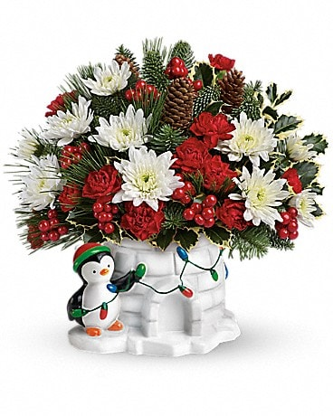Send a Hug® Deck The Igloo by Teleflora Flower Arrangement