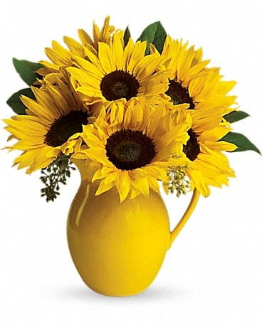 Sunny Day Pitcher of Sunflowers Flower Arrangement