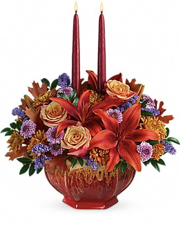 Teleflora's Autumn Ablaze Centerpiece Flower Arrangement